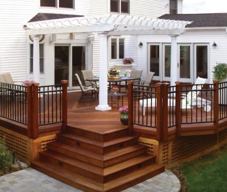picture of a new deck with white pergola